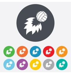 Volleyball fireball icon beach sport symbol vector