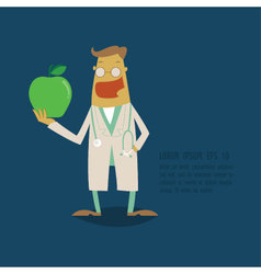 Dentist holding a green apple vector