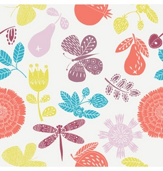 Floral  fruits pattern vector