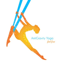Anti-gravity yoga poses woman silhouette vector