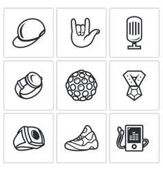 Attributes rapper icons set vector