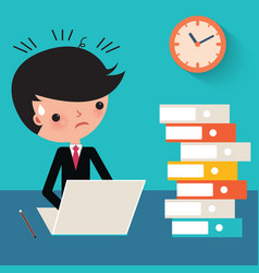 Busy businessman at work cartoon vector