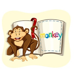 Little monkey and a book vector