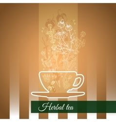 Silhouette cup flowers and leaves vector