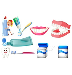 Dental set with boy and clean teeth vector