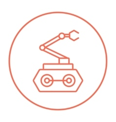 Industrial mechanical robot arm line icon vector