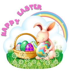 Easter bunny and colorful in the basket vector