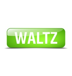 Waltz green square 3d realistic isolated web vector