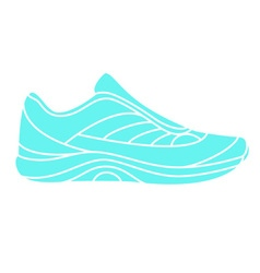 Teal blue sneaker on white background vector