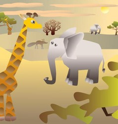 African Savannah and animals vector image