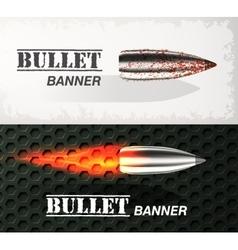 Banner of flying bullet ob military background vector image vector image