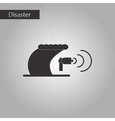 Black and white style icon tsunami loudspeaker vector