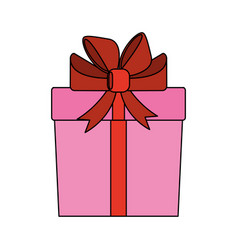 color image cartoon giftbox with wrapping bow vector image vector image