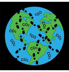 Dirty footprints on earths ecology vector
