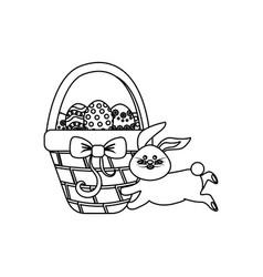 Figure eggs easter inside the hamper and rabbit vector