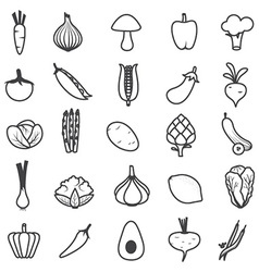 Fresh Vegetables Icons Set vector image vector image