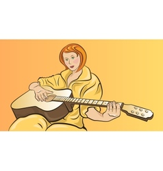 Girl with a guitar vector image
