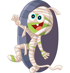 halloween mummy cartoon vector image