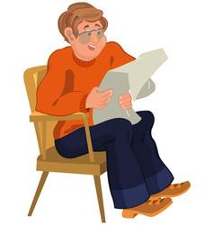 Happy cartoon man sitting in armchair in orange vector image vector image