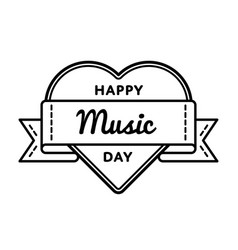 Happy music day greeting emblem vector