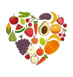 healthy food concept heart shape icon vector image