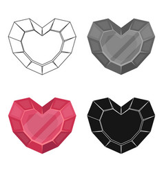 Heart-shaped gemstone icon in cartoon style vector