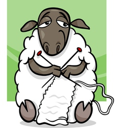 knitting sheep cartoon vector image
