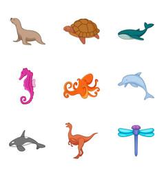 Marine fauna icons set cartoon style vector