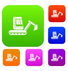 Mini excavator set color collection vector