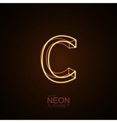 Neon 3D letter C vector image vector image