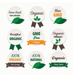 Organic food labels vector image