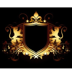 Ornamental shield on a black background vector