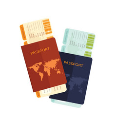 passport with airline boarding pass ticket vector image vector image