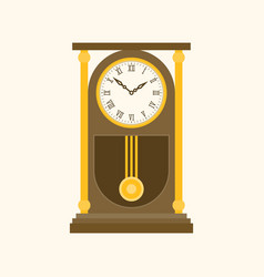 Pendulum wooden retro clock vector