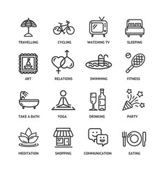 relaxation rest time black thin line icon set vector image vector image