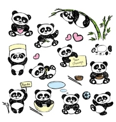 Set cute panda in various poses hand drawing vector