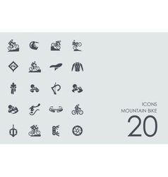 Set of mountain bike icons vector image
