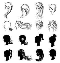 Set of women Hairstyles for beauty concept vector image vector image
