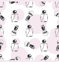 shaving brush and perfume seamless pattern vector image