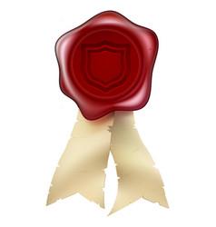 shield wax seal with ribbons vector image vector image