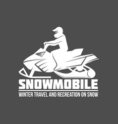 Snowmobile sport badge vector