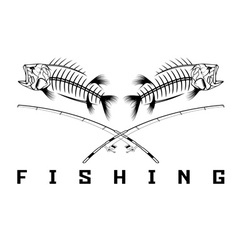 Vintage fishing emblem with skeleton of bass vector