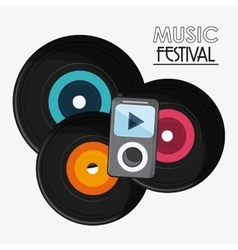 Vinyl mp3 music sound media festival icon vector