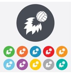 Volleyball fireball icon beach sport symbol vector