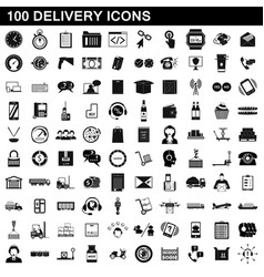 100 delivery icons set simple style vector image
