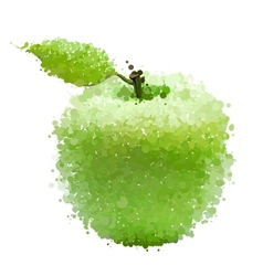 Green apple with leaf of blots isolated on white vector