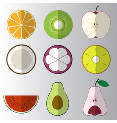 Set of sliced cut fruit flat icon vector