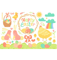 Set of festive decorations for happy easter vector