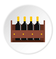 Wine bottles in a wooden crate icon circle vector
