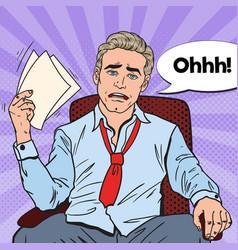Pop art sweating businessman at office work vector